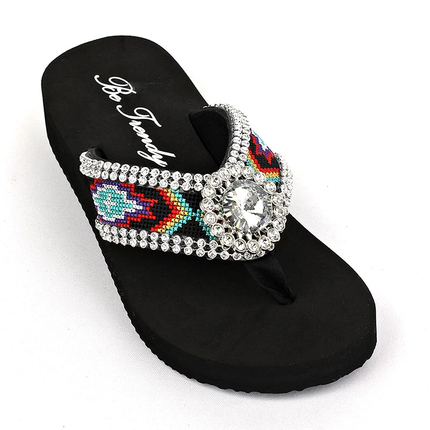 Colorful Aztec Navajo Print Rhinestone Bling Wedge Flip Flop Sandals Shoes