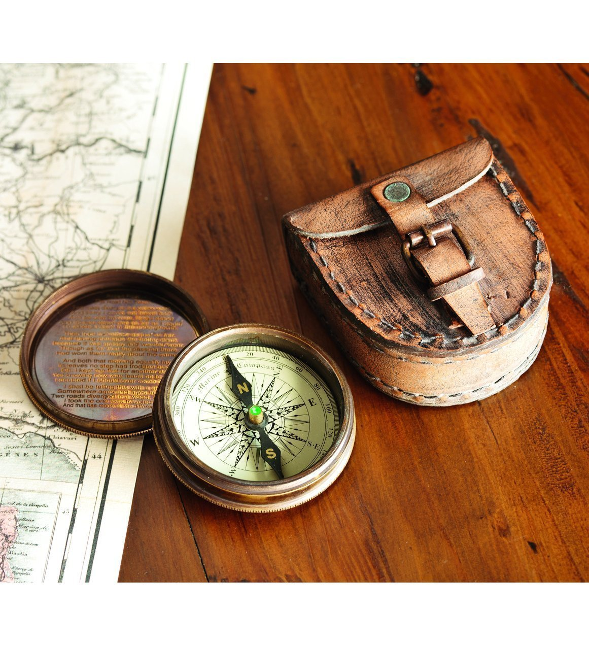 Antiqued Brass Poem Compass With Leather Case 0