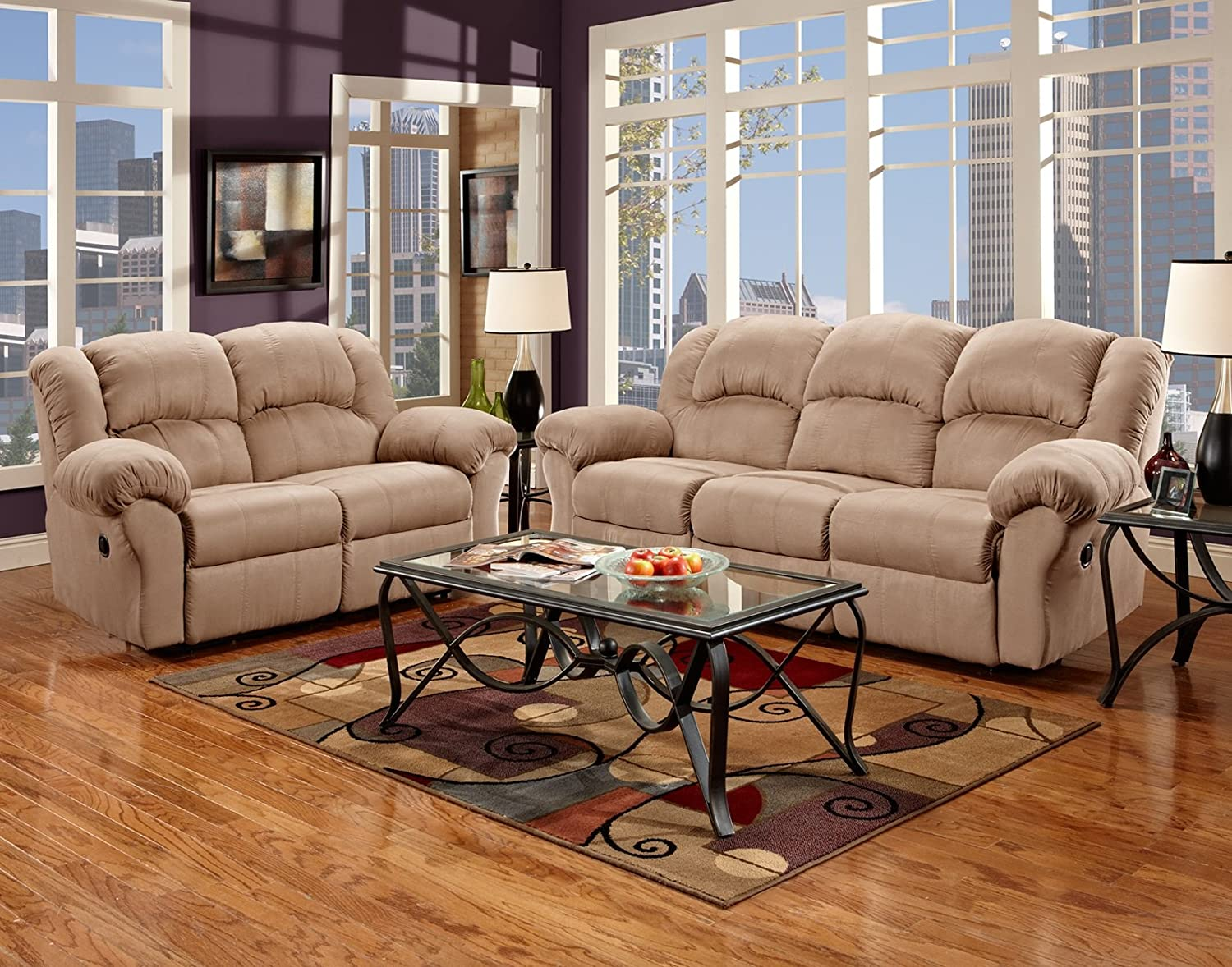 Roundhill Furniture Sensation Microfiber Dual Reclining Sofa Loveseat Set - Camel Tan