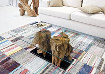 Teak-Couchtisch Ranting inkl. Glas 110 cm x70 cm | Exklusiver Wurzel-holz Wohnzimmer Tisch | Eleganter Beistelltisch