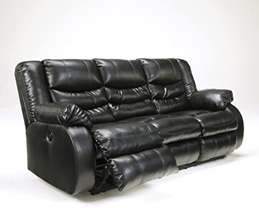 Linebacker DuraBlend Upholstered Black Finish Contemporary Style Reclining Sofa