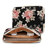 KAYOND Black Rose Patten canvas Water-resistant 15.6 Inch Laptop Sleeve (Tamaño: 15-15.6 Inch)