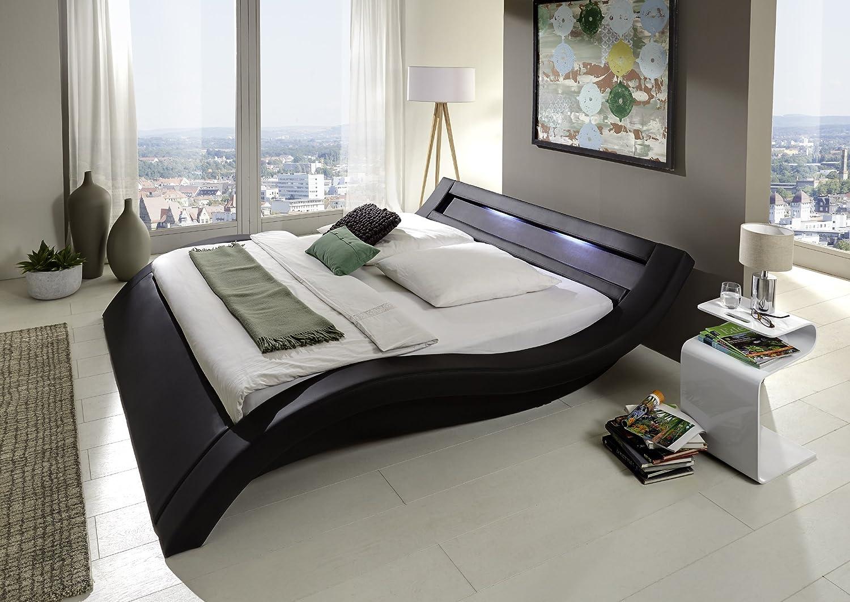 Design Polsterbett 200 x 200cm schwarz mit LED Beleuchtung günstig online kaufen