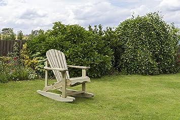 Mecedora de madera distintivo - reposapiés y mesa madera tratada - - perfecta para el jardín y patio al aire libre de los muebles - uso - reposapiés, mesa auxiliar, asiento oscilante., Rocking chair