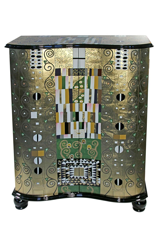 Casa Collection / Art for living by Jänig 10538 Exclusive Kommode, 2-türig mit 2 Einlegeböden, Lack, Gustav Klimt, Motiv Schmalwand, Höhe 119 cm, Breite 92 cm und Tiefe 40 cm