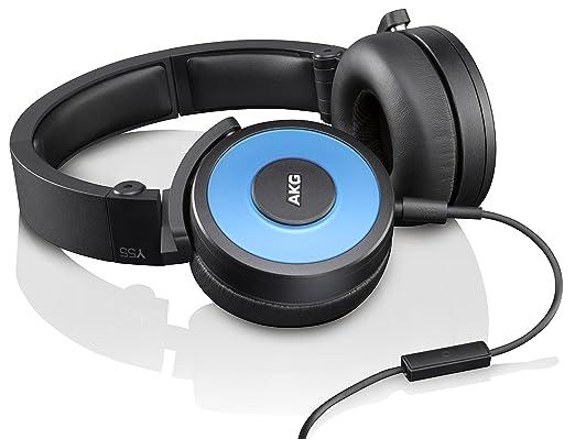 AKG Y55BLU Casque Audio DJ Pliable Hautes Performances  - Isolation du Bruit/Commande/Micro Intégrés - Bleu