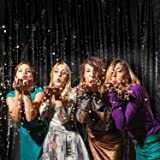 PartyDelight 4Ft X 6FT Black Non-Transparent Satin Sequin Backdrop Curtain for Party Wedding Christmas Photography.(4X6,Black) (Color: Satin Black, Tamaño: 4FTx6FT)