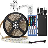 LED Light Strip Kit Waterproof,SUPERNIGHT RGBW (RGB+White) Color Changing Rope Lights,16.4ft 300leds Lighting with 12V Power Adapter and Music Voice Sensor Remote Controller (Color: Strip+remote+power)