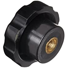 "DimcoGray Black Phenolic Fluted Torque Knob Female, Brass Insert: 1/4-20"" Thread x 7/16"" Depth, 1-3/8"" Diameter x 27/32"" Height x 27/32"" Hub Dia x 25/64"" Hub Length"