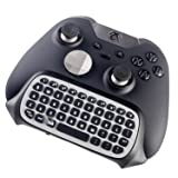 Elite Xbox One S Chatpad Mini Gaming Keyboard Wireless Chat Message KeyPad with Audio/Headset Jack for Xbox One X & Elite & Slim Game Controller Gamepad - 2.4GHz Receiver included (Color: Silver/Black)