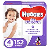 HUGGIES LITTLE MOVERS Diapers, Size 4 (22-37 lb.), 152 Ct., ECONOMY PLUS (Packaging May Vary), Baby Diapers for Active Babies