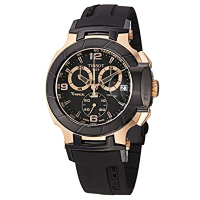 Tissot Men's T048.417.27.057.06 T-Sport Rose-Gold PVD Black Rubber Strap Watch