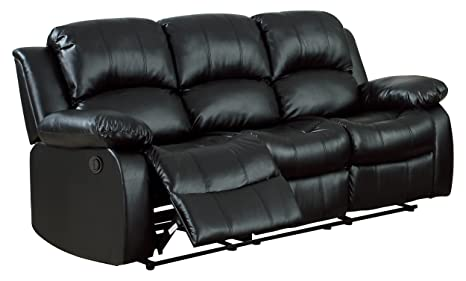 Homelegance 9700BLK-3PW Plushy Rolled Tufted Power Reclining Motion Bonded Leather  Sofa, Black