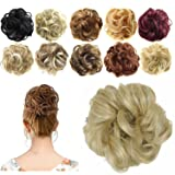 FESHFEN Synthetic Hair Bun Extensions Messy Hair Scrunchies Hair Pieces for Women Hair Donut Updo Ponytail (Color: A17- 24/613 Pale Golden Blonde & Bleach Blonde, Tamaño: Normal)