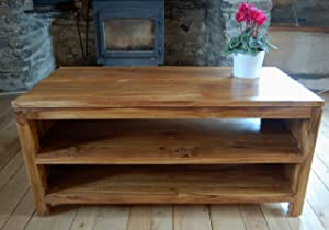TV Stand Cabinet 2 Shelf   Teak Wood with Light Oak Stain/Finish 90x42x45cm       Customer reviews and more information