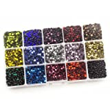 Summer-Ray SS16 4mm Assorted Color Hot Fix Rhinestones in Storage Box (Color: Multi, Tamaño: SS16)