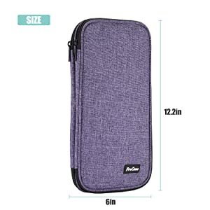 ProCase Knitting Needles Case (up to 11 Inches), Travel Organizer Storage Zipper Bag for Circular and Straight Knitting Needles, Crochet Hooks and Other Accessories (NO Accessories Included), Purple (Color: Purple)