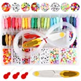 Bracelet Making Beads Kit, Letter Beads, Hand-Make Necklaces Letter Beads Colorful, 30 Multi-Color Embroidery Floss