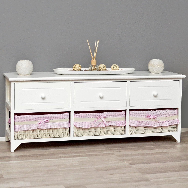 <p>Mueble blanco de madera. Cajonera con 3 cajones y tres cestas</p>
