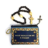 Religious Gifts Wooden 30 Knots Prayer Beads with Tapestry Jesus Prayer Pouch Keepsake Holder 4 1/4 Inch (Color: Turquoise)