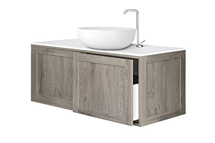 B&C Mobile bagno Console con 2 cassetti e con top in Stonelight opaco - linea Urban Chic - Made in Italy