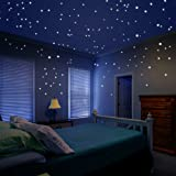 Glow in the Dark Star Decals Glowing Reusable Ceiling Décor of 1447Pcs Dots Plus Moon and Constellation Guide Perfect For Kids Bedding Room or Media Room, Beautiful Wall Decals