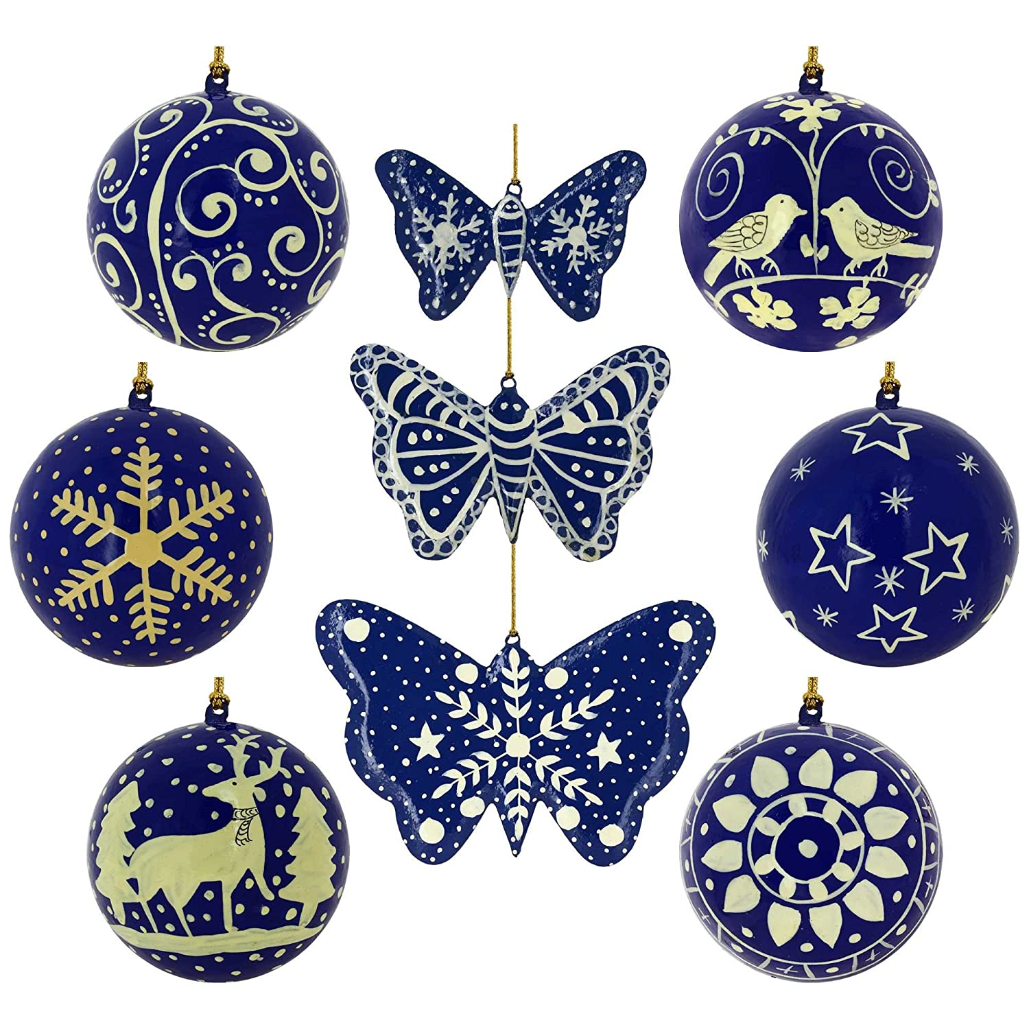 Blue Paper Mache Decorated Christmas Ornaments
