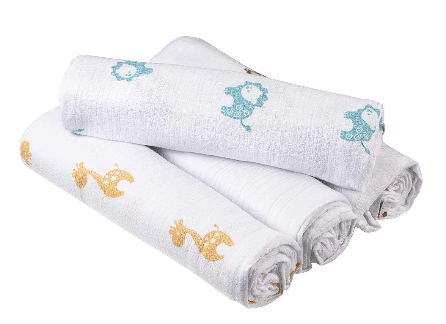 Aden By aden + anais Muslin Swaddle Blanket 4 Pack, Safari Friends