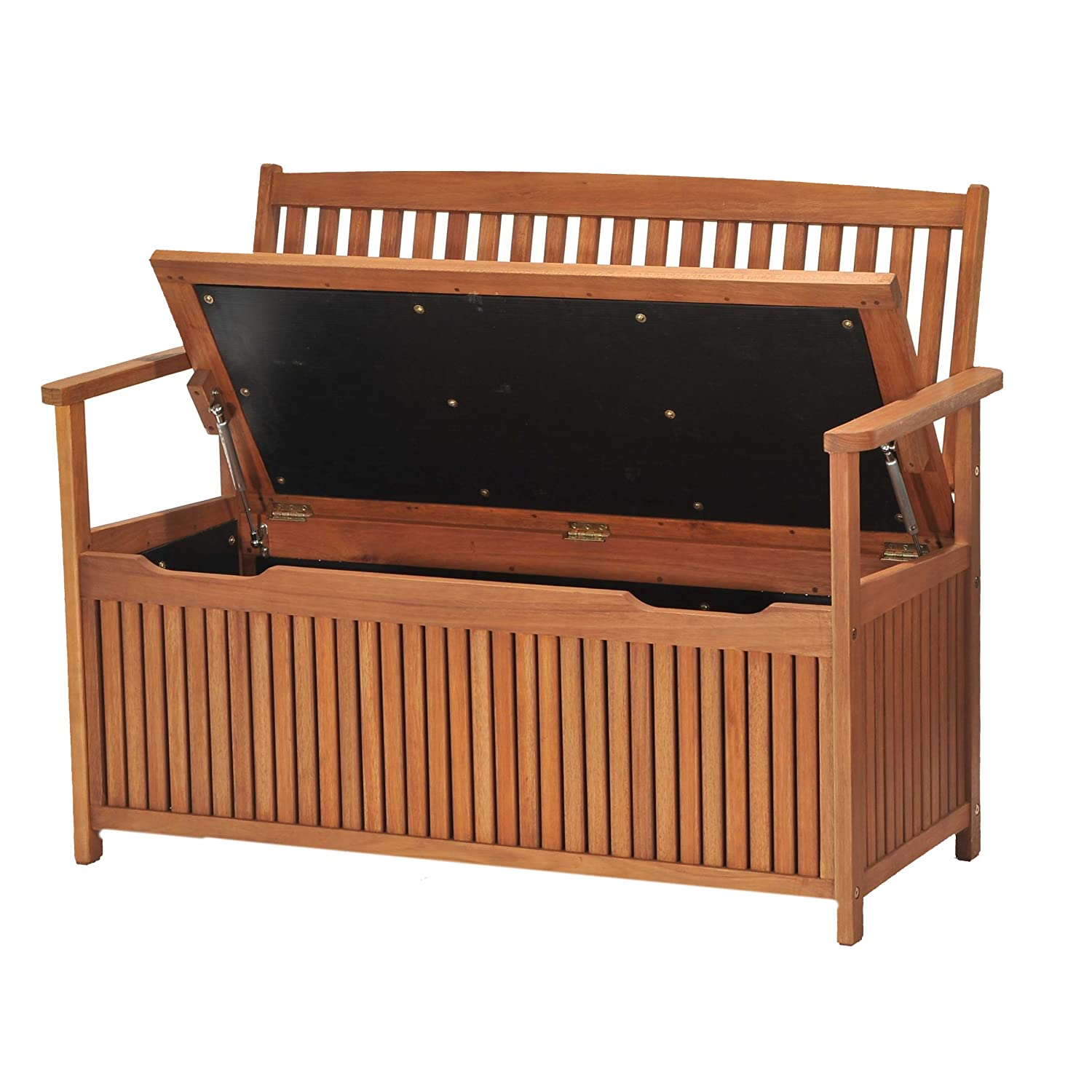 NEW Eucalyptus Wood Outdoor Storage Bench Wooden Garden Furniture Seating Sea