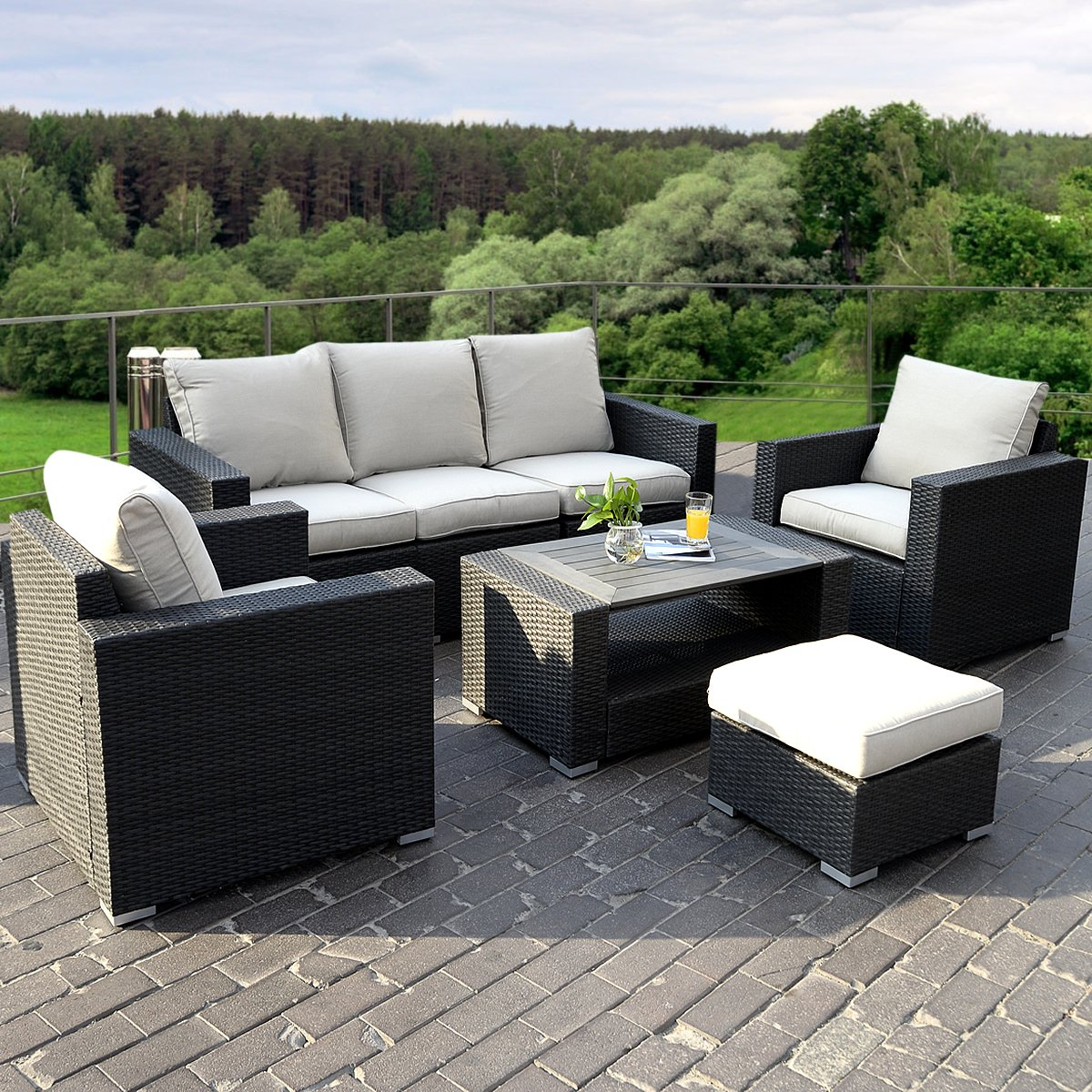 17tlg lounge set gartenm bel loungem bel polyratten sitzgruppe gartengarnitur m belgarnitur. Black Bedroom Furniture Sets. Home Design Ideas