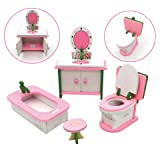 X Hot Popcorn Wooden Colorful Dolls House Furniture Toys Set Miniature Models Kids DIY Assembled Toys (Bathroom room)
