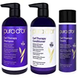 PURA D'OR Curl Therapy 3-Piece Set Shampoo, Conditioner & Styling Cream for Curly, Wavy or Frizzy Hair, Improves Shine, Definition & Bounce, Infused with Natural & Organic Ingredients, for Men & Women