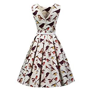 6fe453609144 LUOUSE Women/'s Vintage 1950s Sleeveless birds print Cocktail Party Swing  Dresses, Apricot, XL