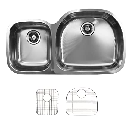 Ukinox D537.60.40.8R.G Modern Undermount Double Bowl Stainless Steel Kitchen Sink with Bottom Grids