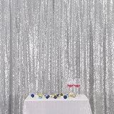 Silver PartyDelight Sequin Backdrop, Photography, Christmas Backdrop, 4x6 Ft (Color: Silver, Tamaño: 4FTx6FT)