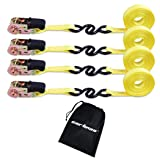 Cartman Ratchet Tie Down, 4Pk 15Ft, 500Lbs Load Cap/ 1500Lbs Break Strength, Cargo Straps for Moving Appliances, Lawn Equipment, Motorcycle in a Truck, with Carry Bag (Color: Yellow, Tamaño: 4pk)