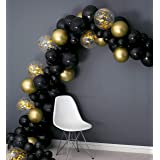 Balloon Garland Black and Gold Confetti 16ft Party Decoration Kit, Tools Included (Balloon Tape, Balloon Glue, String, Instruction) Birthday, Baby Shower, Event, Men, Adult by TOKYO SATURDAY (Black) (Color: Black)