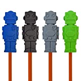 Sensory Fidget Robot Pencil Toppers - 100% Chewable Oral Motor Aides (Set of 4 - Black/Navy/Grey/Green)