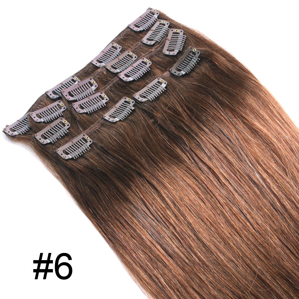 Yewig #6 Remy 100% Real 7pcs 70g Straight Human Hair Clips In Hair Extensions 5 port solenoid valve sy5120 5gd c6 smc type made in china