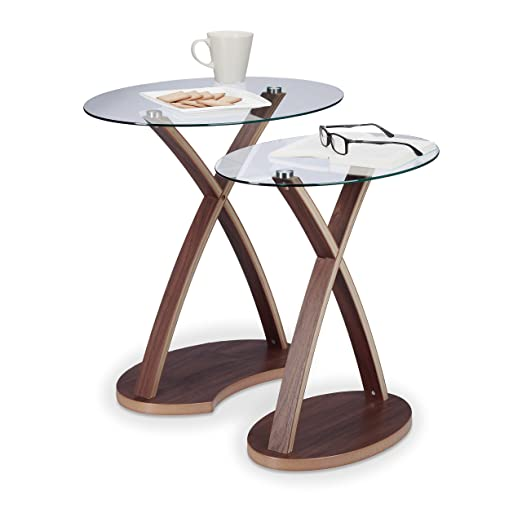 Relaxdays–Mesa auxiliar Oval–Juego de 2–Bandeja de cristal y patas en madera diseño moderno (2tamaños, Nature
