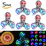 5 Pack LED Light Fidget Spinner Stress Relief Anxiety Toys Best Autism Fidgets spinners for Adults Children Finger Toy with Bearing Focus Fidgeting Restless Colorful Hand Spin Party Favor (clear)