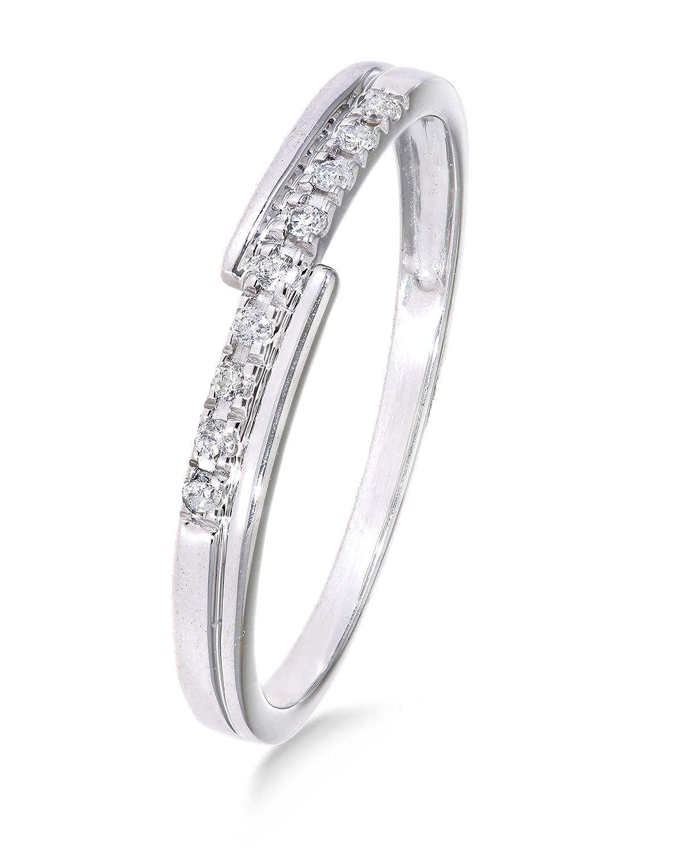 Funkelndes Feuer Moderner 9 Karat (375) Weißgold Cluster Damen – Diamant Ring Brillant-Schliff 0.04 Karat HI-I1 günstig bestellen