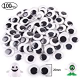 FINGOOO 100PCS 25mm/1inch Black Round Googly Eyes for Crafts Decorations (Tamaño: 25mm/1inch ,100pcs)
