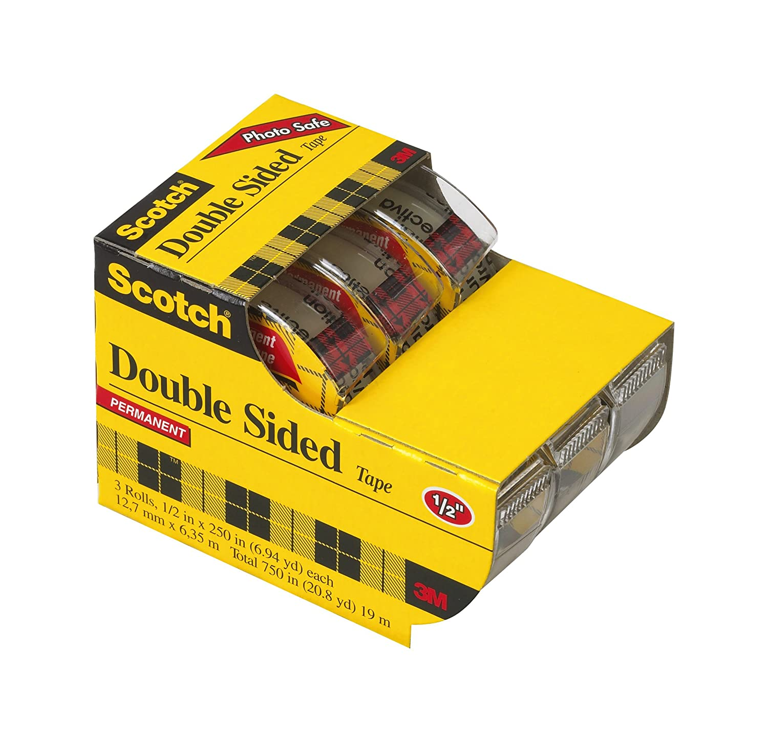 Scotch Double Sided Tape with Dispenser, 1/2 x 250 Inches, 3-Pack Caddy (3136)