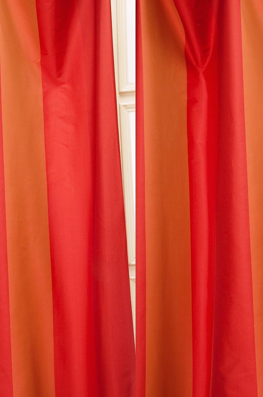 Juniper red spring faux silk curtain