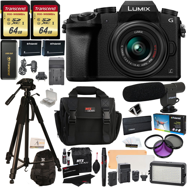 "Panasonic DMC-G7KK Digital Single Lens Mirrorless Camera 14-42 mm Lens Kit, 4K + 2 Transcend 64 GB + LED Light Flash + Polaroid 72"" Tripod + Microphone + Filter Set + 2 Batteries + Charger + Extras"