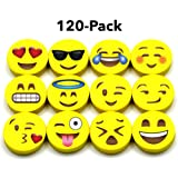 BEST EMOJI MINI ERASERS for Kids,120 Emoji Pencil Eraser Bulk Pack, Great for Gifts, Small Emoticon Party Favors, Teacher Incentives, Rewards, Classroom School Supplies, Pair with Fun Pencils (Color: Yellow)
