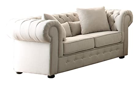 Homelegance 8427-2 Grand Chesterfield Button Tufted Upholstered Fabric Rolled Arm Love Seat