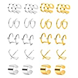 Tornito 10 Pairs Stainless Steel Ear Cuff Helix Cartilage Clip On Wrap Earrings Fake Nose Ring Non-Piercing Adjustable (A0: 10 Pairs) (Color: A1: 10 Pairs)