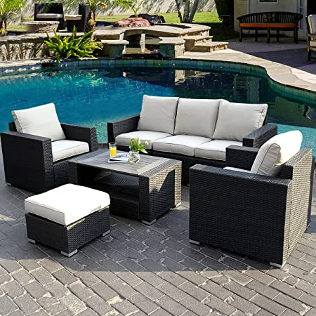 This Seven Piece Outdoor Patio Set Comes Complete With A Sofa, Two Chairs,  An Ottoman, And A Table With Tempered Glass Top. It Includes  Weather Resistant ...